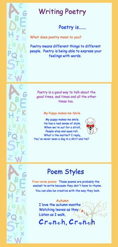Writing Poetry PDF for Gr. 3-5 Also available as a Smart Notebook file.  Click for preview.