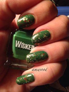 "Christmas tree on your fingers. Deborah Lippmann Wicked ""Defying Gravity"" with Dollish Polish ""Dino-mite Yoshi""."