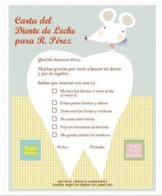 Carta del diente de leche para Ratoncito Pérez. Se puede descargar desde http://www.haciendoelindio.bigcartel.com/product/carta-al-ratoncito-perez-gratis