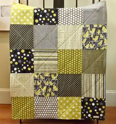 Baby Quilt - Gray Bird Baby Blanket - For Boy or Girl - Black, White, Grey, and Citron Yellow - Gender Neutral. $79.00, via Etsy.
