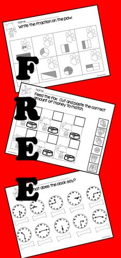 8 FREE NO PREP MATH PRINTABLES with a cute FOXY theme.