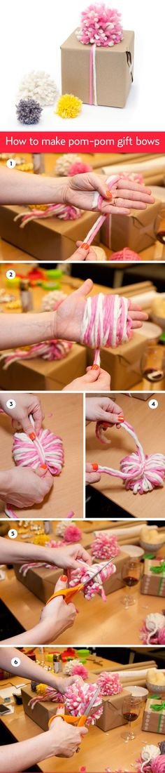 DIY ● Tutorial ● Pom pom Gift Bow Packaging
