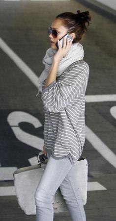 fashion, cloth, style, casual, outfit, grey, jessica alba, closet, gray