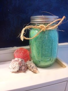Fill a Mason jar with homemade Bath Salts - here's the recipe.