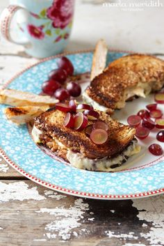 Grilled Cheese with Chicken, Cheddar & Grapes   recipe on FamilyFreshCooking.com. I love grapes in savory dishes.