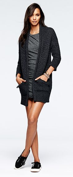 Loving this look from BR. Comfy jersey dress with long sweater and sneaks. 40 % off for labor day weekend