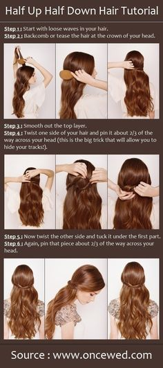 Half Up Half Down Hair Style Tutorial: Easy Wedding Hairstyles for Long Hair