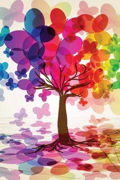 butterfli tree, happy colors, tree art, bottles, papillon, rainbow colors, balloons, tree of life, bowls