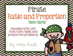 Ratio and Proportion task cards - Pirate theme, $
