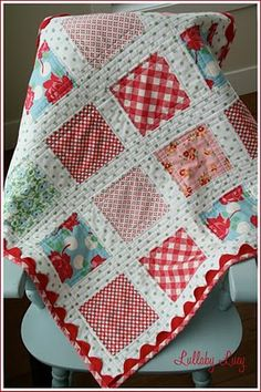 plain blocks with sashing.  puts the focus on the fabric. polka dots, baby quilts, color, quilt patterns, the edge, rickrack, baby girls, ric rac, rick rack