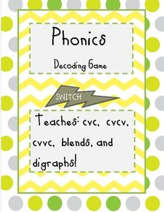 My kids use this first in the word working center. I use a variation of this game for morning meeting where I deal out one or two cards to each student. As cards are played different word analogies are modeled. Phonics Decoding Game Practices cvc, cvvc, cvcv, ccvc. Based on Common Core. phonic decod, decod game