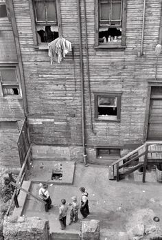 "July 1938. ""Slums in Pittsburgh, Pennsylvania."" 35mm nitrate negative by Arthur Rothstein for the Farm Security Administration."