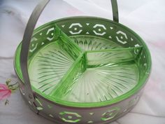 Vintage Green Depression Glass  Condiment Tray