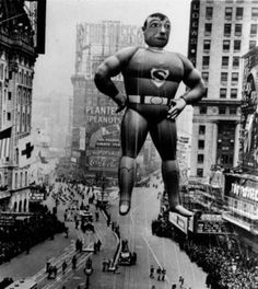 1940s Superman Balloon from Macy's Thanksgiving Day Parade via The Retroist
