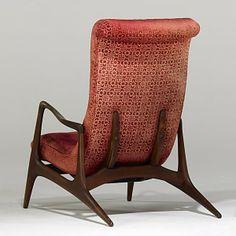 Vladimir Kagan; #VK100 Walnut Adjustable Lounge Chair for Kagan-Dreyfuss,1950s