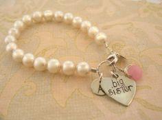 Big Sister Swarovski pearl Initial bracelet with pink by MayaBelle, $44.00
