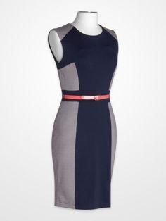 Steve Harvey White & Navy Stripe Inset Dress