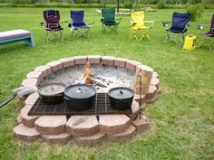 Open Fire Pit Design with Grilling / Cooking Grate