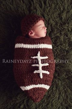 Crochet Football Cocoon on Etsy with photo by www.raineydayz.com