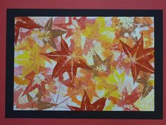 In this project, students combined and layered painting and printing techniques using fall leaves as the subject. Students chose an analogous color scheme to use for their piece (analogous colors are adjacent to one another on the color wheel, like yellows, greens and blues). The main goal of the project was to create a balanced composition, taking into account leaf shape and size, and placement of the leaves and colors. Students used these three techniques to create their pieces: