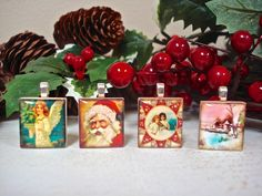 """Christmas + Scrabble Tile Pendants = Great Gift. These pendants are from our set """"Vintage Christmas."""" - Mango and Lime Design"""