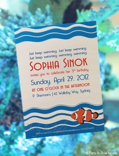 Finding Nemo Inspired Birthday Invitation. $15.00, via Etsy.