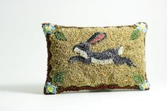 Lavender Sachet  Rabbit Punch Needle Embroidery by HarpandThistle, $67.00