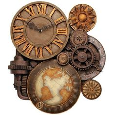 clock, gear & map collage