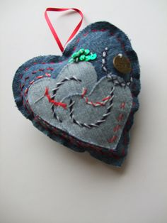 upcycle recycled denim heart filled with lavender