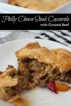 Philly Cheese Steak Casserole with Ground Beef Recipe