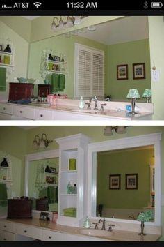 Bathroom idea bathroom mirrors, open shelves, big bathroom, diy bathroom, framed mirrors, master bathrooms, bathroom ideas, master baths, kid bathrooms