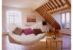 Perhaps you have a large space where your kids love to hang out. Maybe you have just refinished your attic and have been searching for the perfect couch. Consider a large-scale bed hammock instead for cuddling and snoozing.