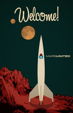 Retro Posters of Airline to Mars #illustration
