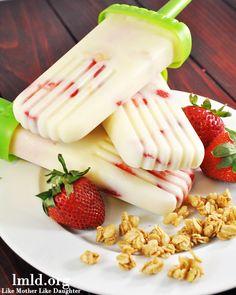 Strawberry Granola Yogurt Popsicle - Like Mother, Like Daughter