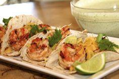 Chipotle Shrimp Tacos with Cilantro Lime Sauce