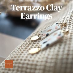 Terrazzo clay earrings handmade in Montreal, Canada. Gorgeous terrazzo pattern and texture. Visit my Etsy shop to view the full collection