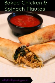 Baked Chicken & Spinach Flautas