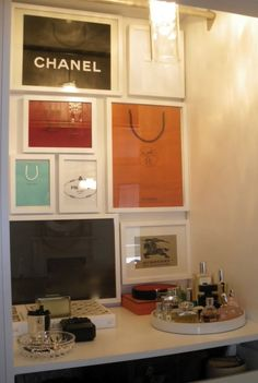 DIY Framed shopping bags for a walk in closet or vanity area.