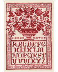 folk art pattern in red