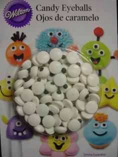 Candy Eyeballs - How cute are these!! Great for cookie and cupcakes...
