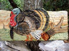 Wild Turkey Scene 24x12 chainsaw carved wild bird by Todd Lynd of oceanarts10 on Etsy