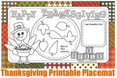 Thanksgiving Coloring Pages-We are so excited about these Thanksgiving coloring pages.  We have a whole set of Thanksgiving coloring pages that can be used as placemats, placecards, napkin rings and table decorations.  Each of the four pages can be printed out and colored {and cut out} to create a custom Thanksgiving celebration.