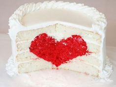 Ha! Wedding cake with a heart in the middle. So clever. Birthday, Cake Tutorial, Valentine Day, Valentine Cake, Food, Red Velvet, Wedding Cakes, White Cakes, Dessert