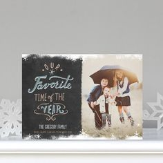 Merriest Little Snow - #Holiday Photo Cards by Petite Alma for Tiny Prints in Flint Gray. #ChristmasCards