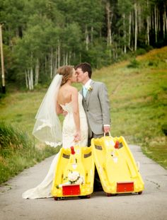 Bride and groom taking the Alpine Slide at Park City Mountain Resort
