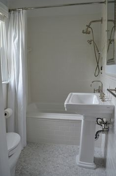 Suzie: One Story Building - Chic bathroom with Kohler Archer Drop-In Tub with Daltile subway ...