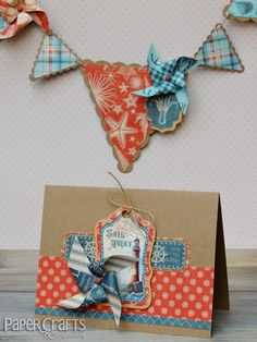 Make a summery banner and invitation for a beach-themed party; Laura Williams for Paper Crafts & Scrapbooking blog: make cards, paper crafting, die-cutting, die cut, pinwheel
