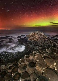 Northern Lights over the Giant's Causeway, Northern Ireland.