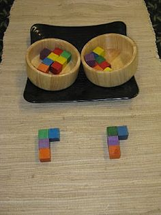 Copy Me Game:  A simple game fun for all ages. One player creates a pattern the other copies it. wonderful for building visual-perceptual and fine motor skills for reading and writing.