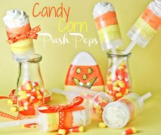 candi corn, push up pops, fall parties, candy corn, sweet treats, corn cakes, cake push pops, cake pops, candy cakes